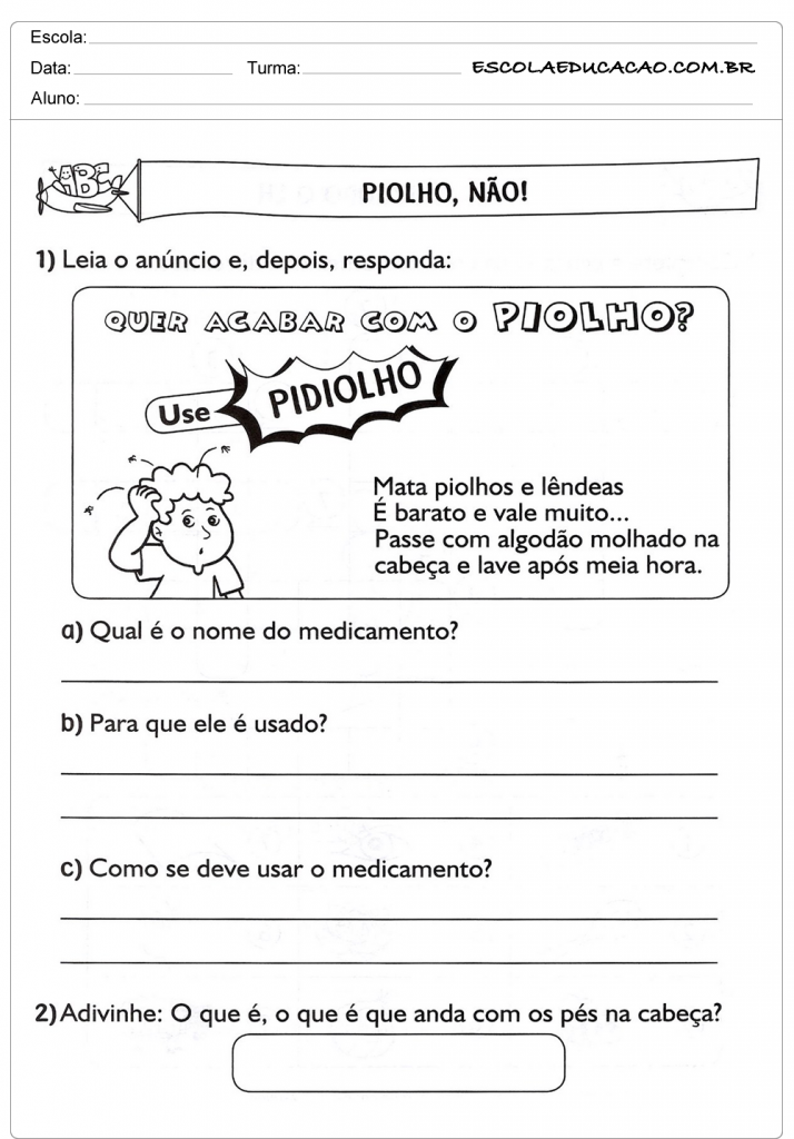 Atividades de Interpretação de Texto 3º ano - Piolho, Não