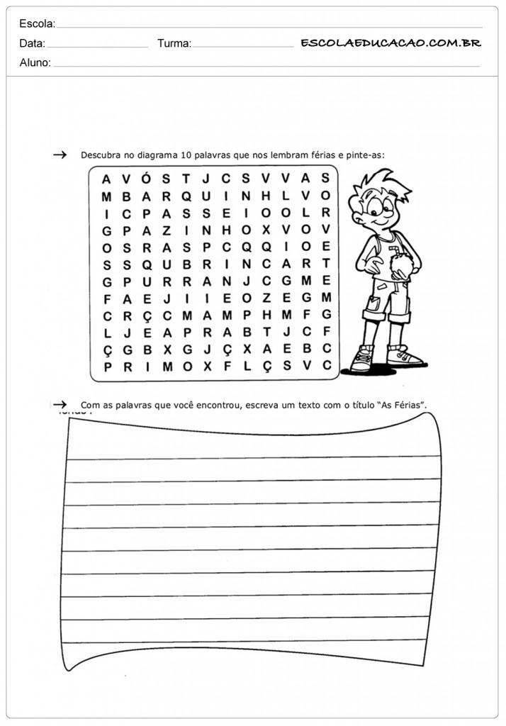 Atividades de Interpretação de Texto 4º Ano - Férias