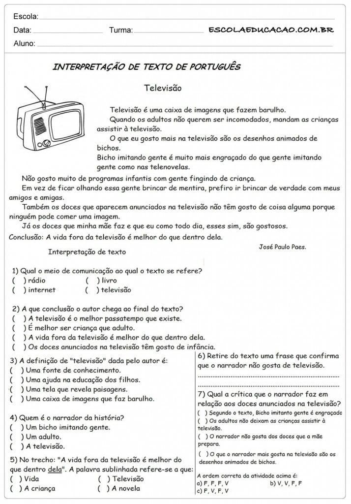 Atividades de Interpretação de Texto 4º Ano - Televisão