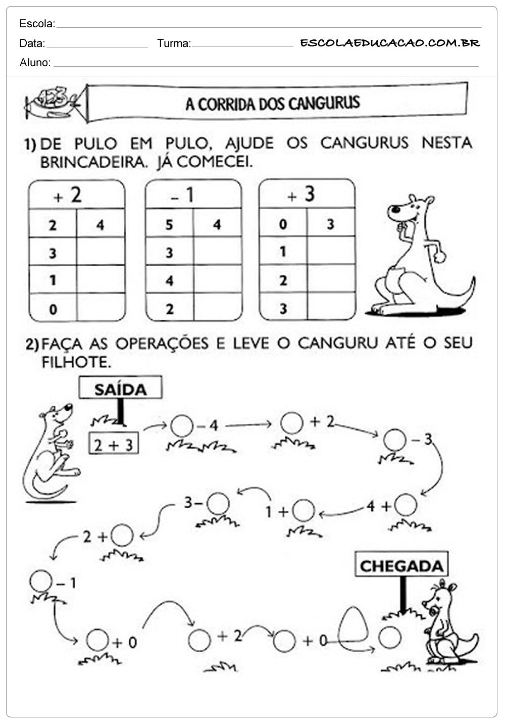 Atividades de Matemática 1º ano – A corrida dos Cangurus