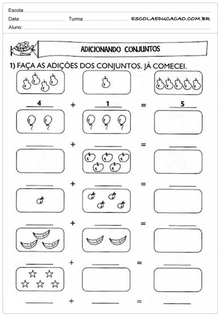 Atividades de Matemática 1º ano - Adicionando Conjuntos