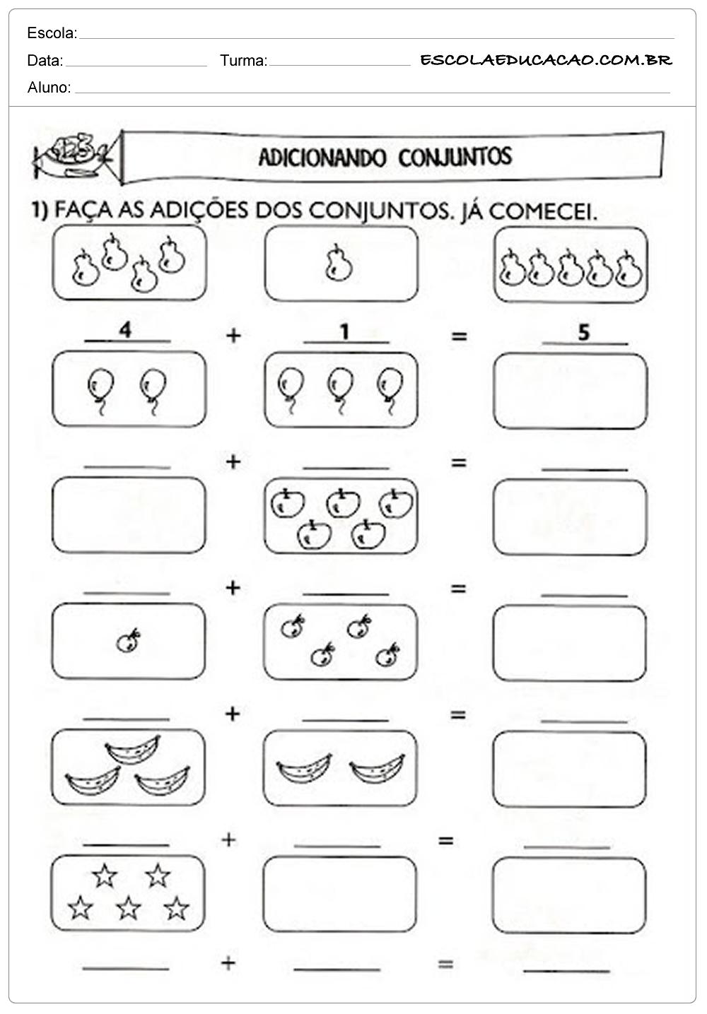 Atividades de Matemática 1º ano – Adicionando Conjuntos