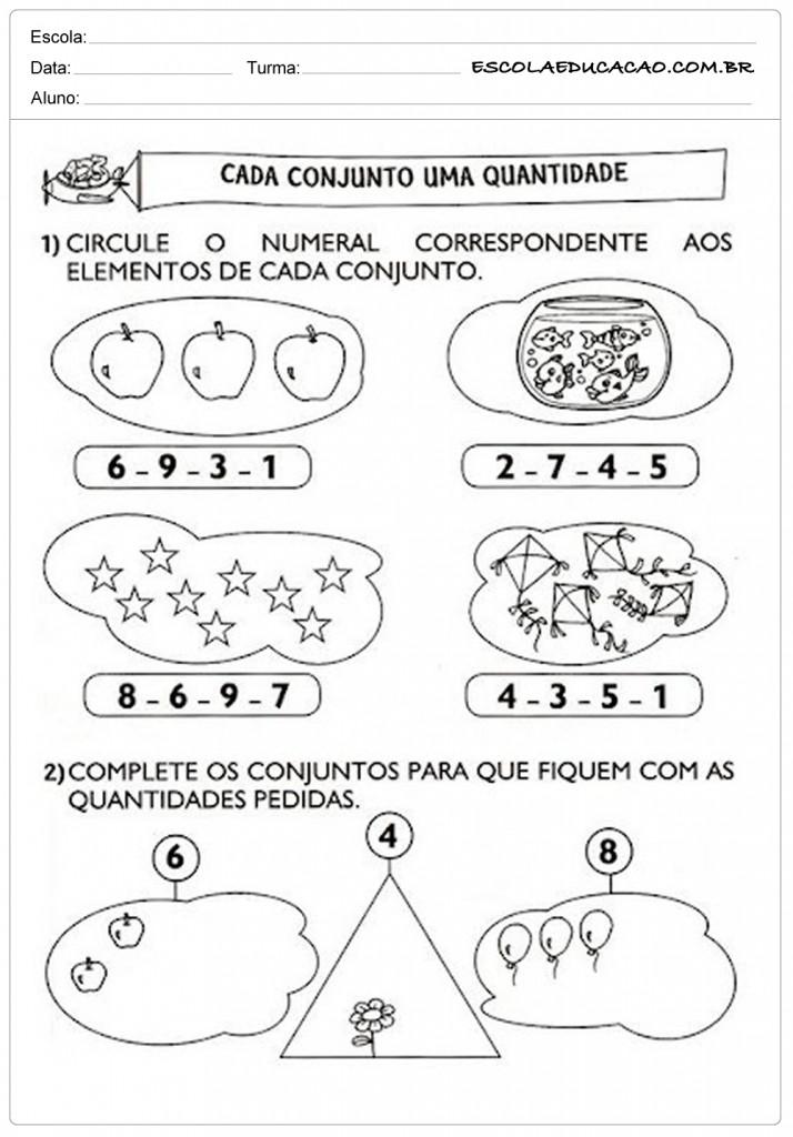 Atividades de Matemática 1º ano - Cada conjunto uma quantidade