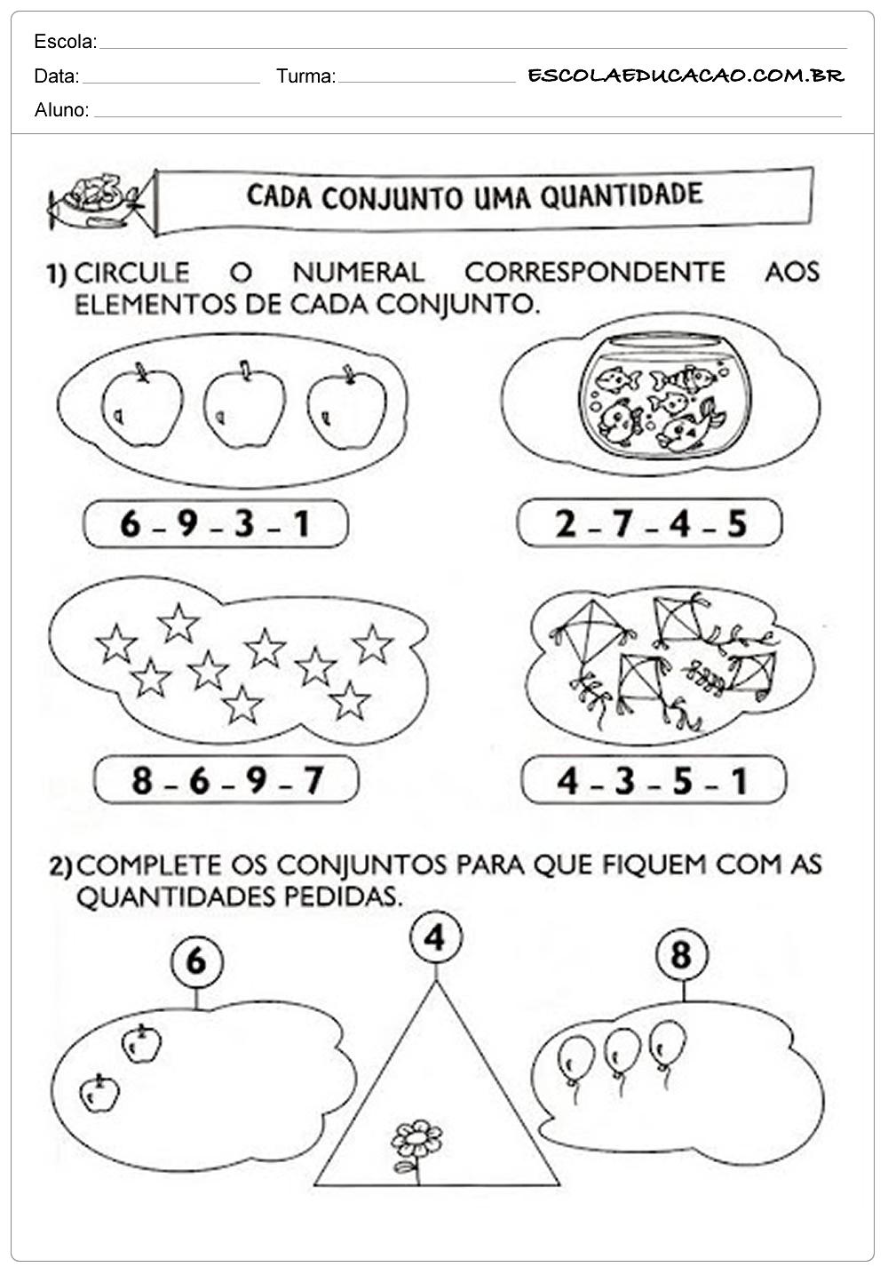 Atividades de Matemática 1º ano – Cada conjunto uma quantidade