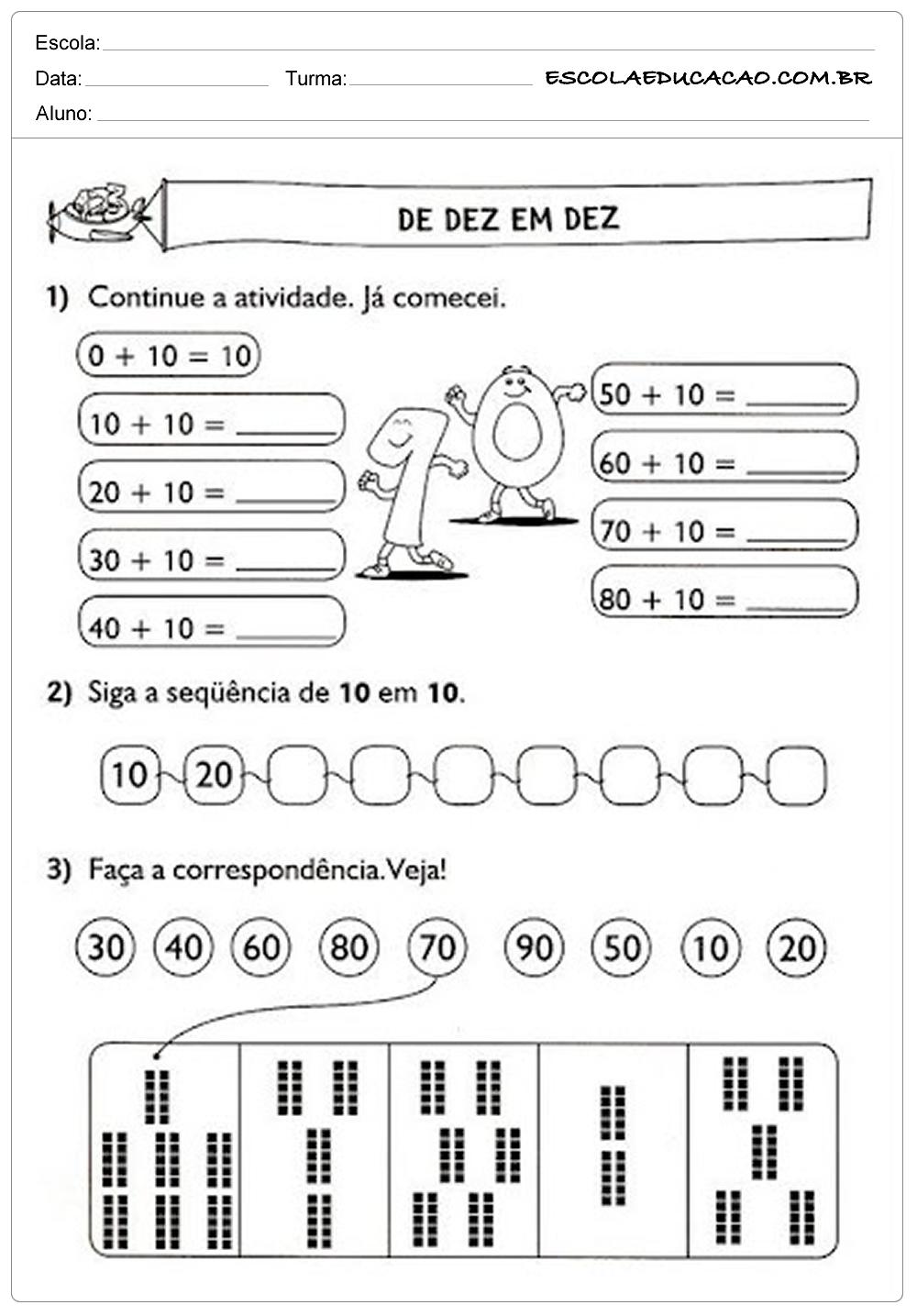 Atividades de Matemática 1º ano – De 10 em 10
