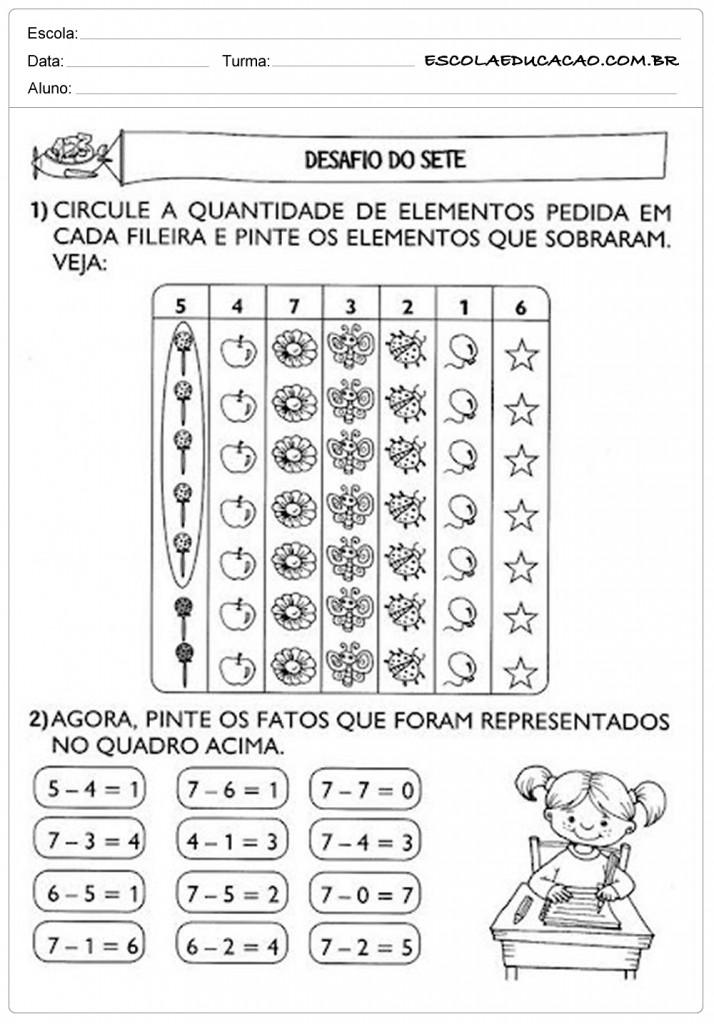 Atividades de Matemática 1º ano - Desafio do 7