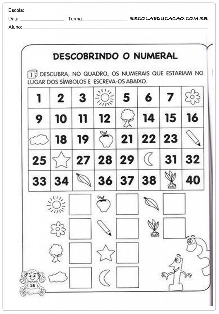 Atividades de Matemática 1º ano - Descobrindo o numeral