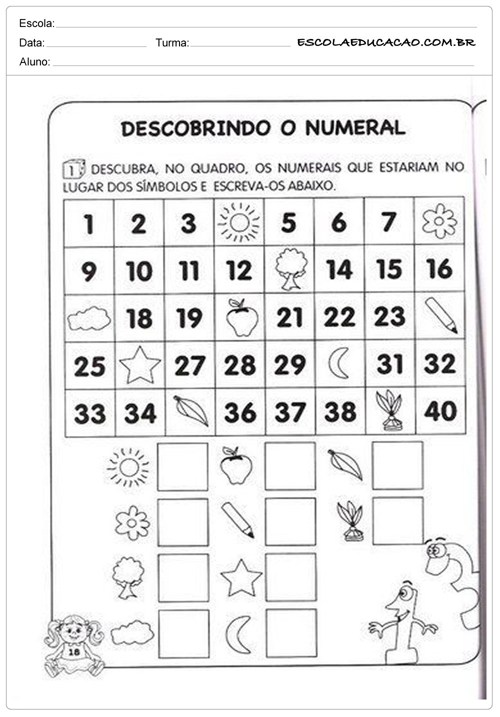 Atividades de Matemática 1º ano – Descobrindo o numeral