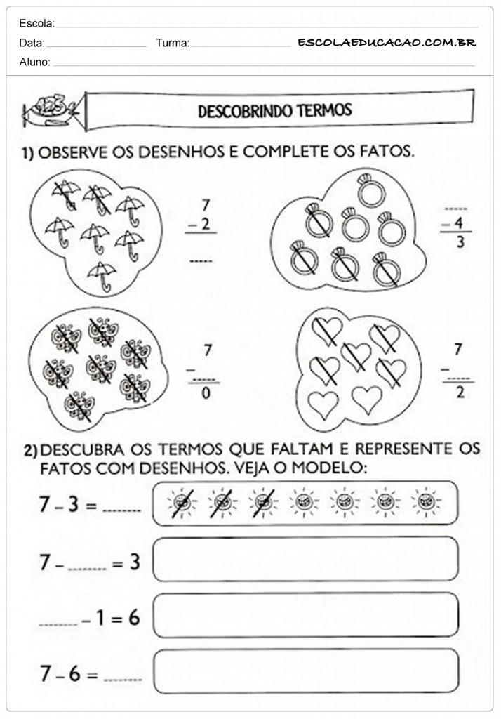 Atividades de Matemática 1º ano - Descobrindo termos