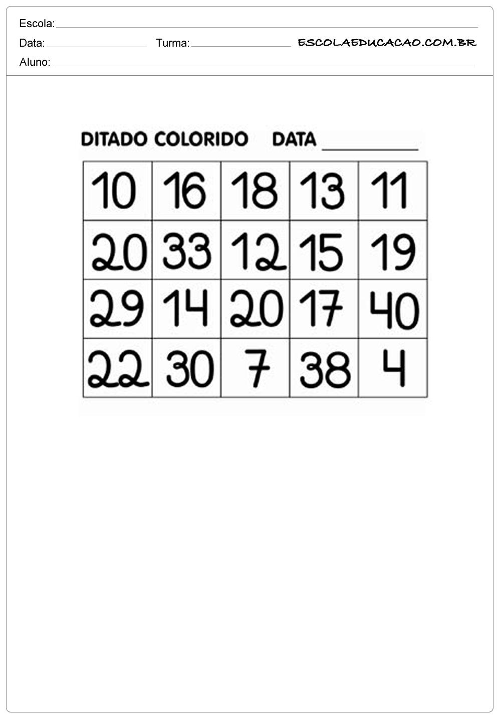 Atividades de Matemática 1º ano – Ditado Colorido