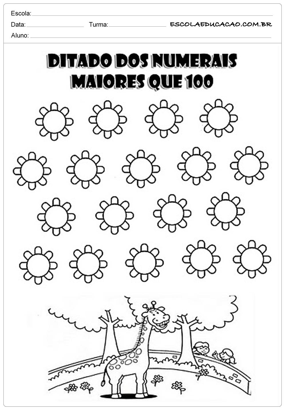 Atividades de Matemática 1º ano – Ditado dos números maiores que 100