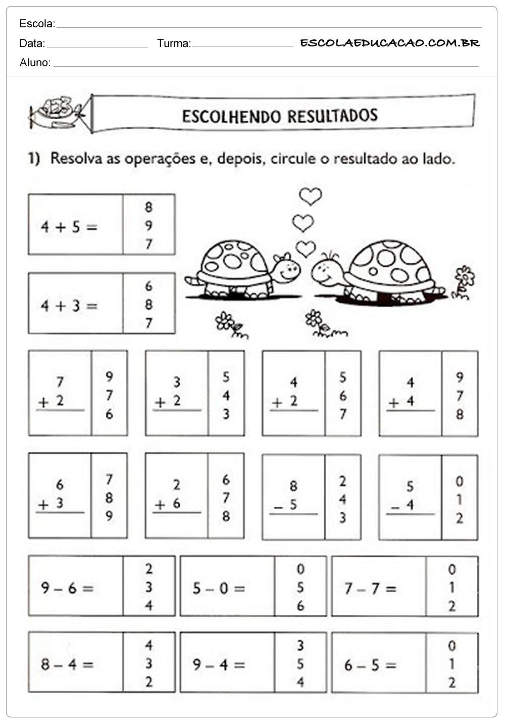 Atividades de Matemática 1º ano – Escolhendo resutlados