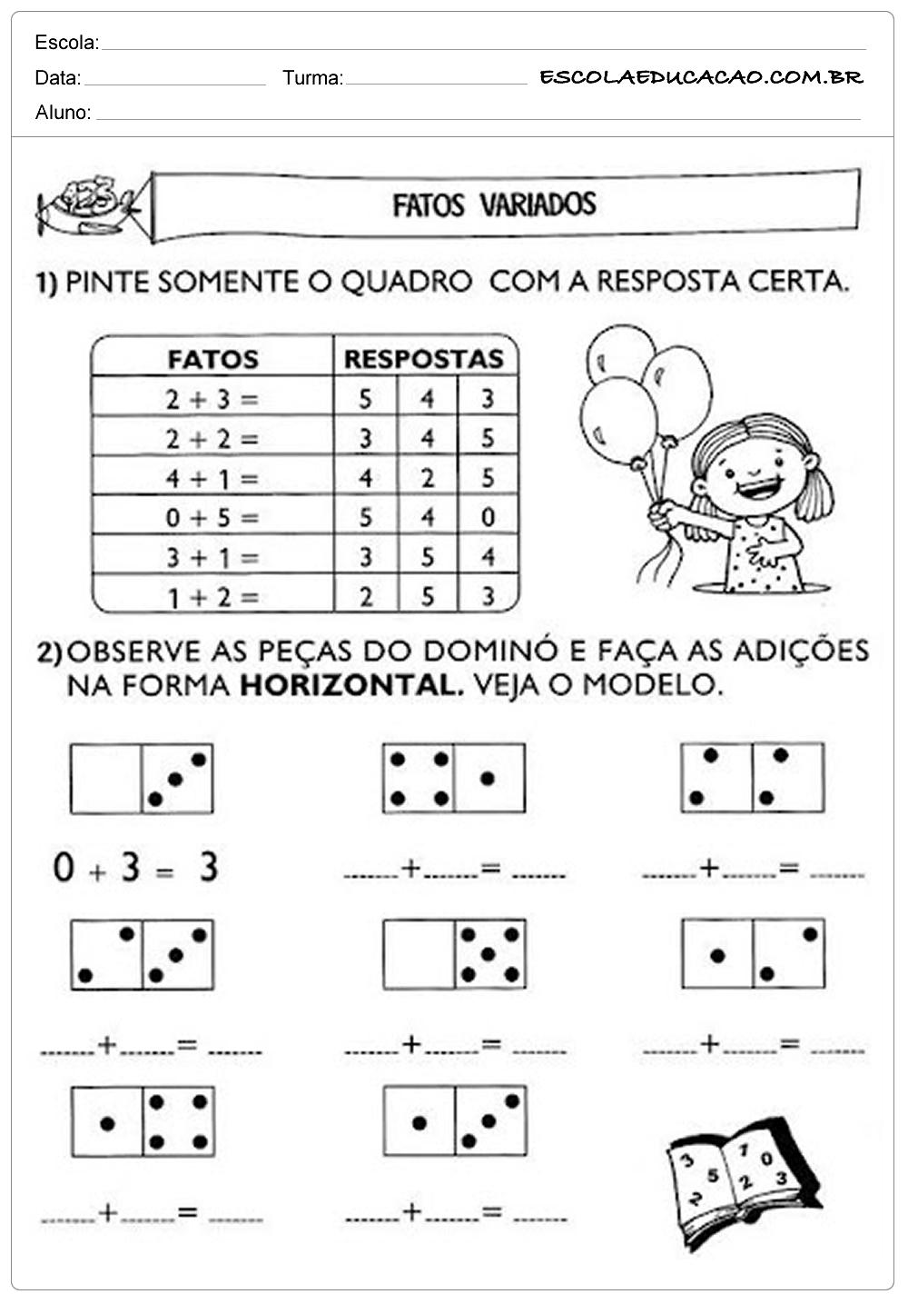 Atividades de Matemática 1º ano – Fatos variados