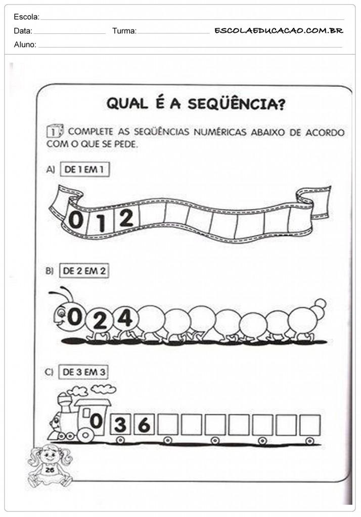 Atividades de Matemática 1º ano - Sequência