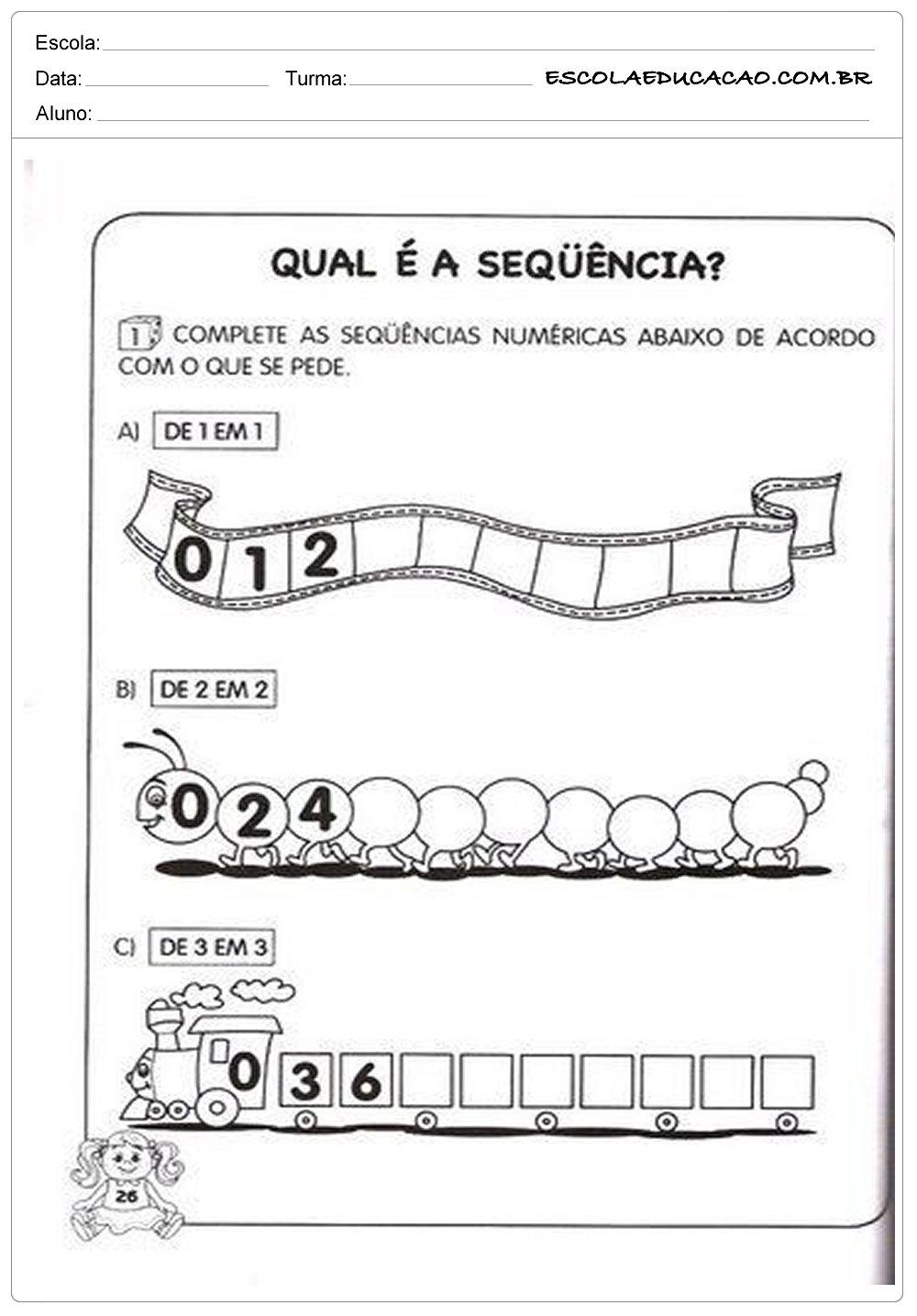 Atividades de Matemática 1º ano – Sequência