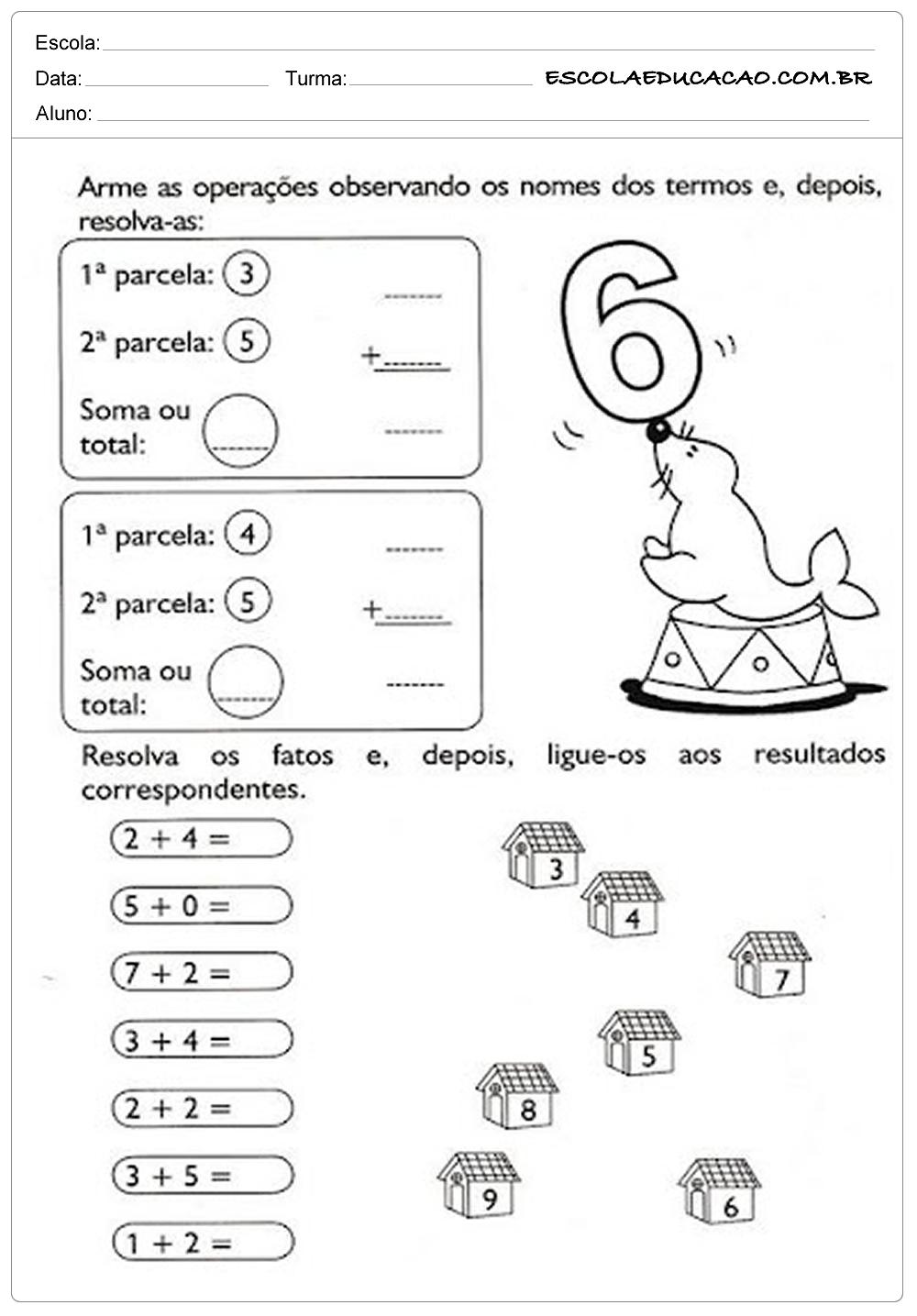 Atividades de Matemática 1º ano – Somando com 6