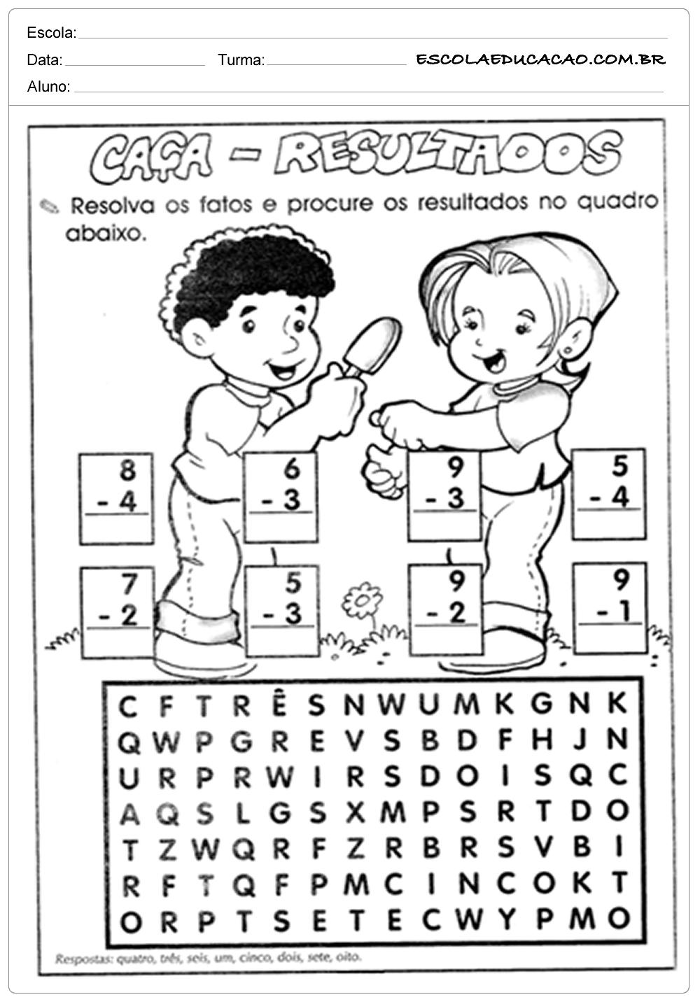 Atividades de Matemática 2º ano – Caça Palavras