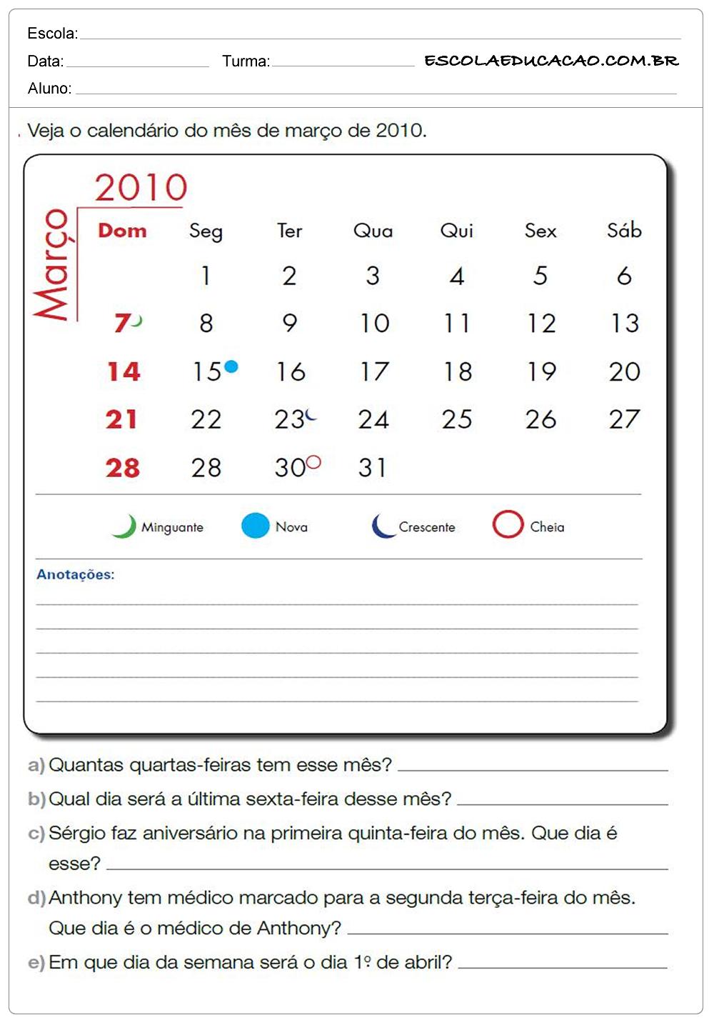Atividades de Matemática 2º ano – Calendário