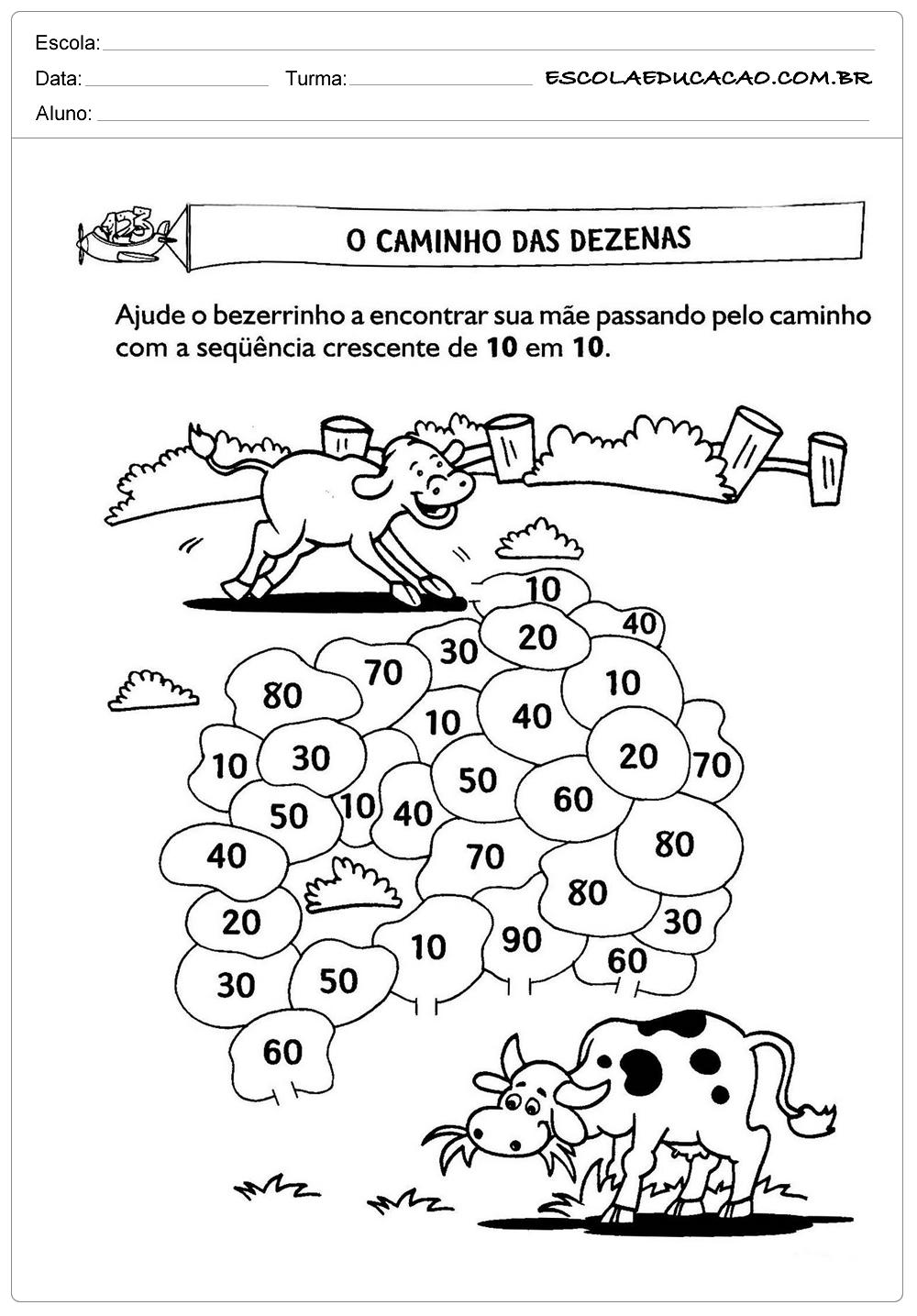 Atividades de Matemática 2º ano – Dezenas