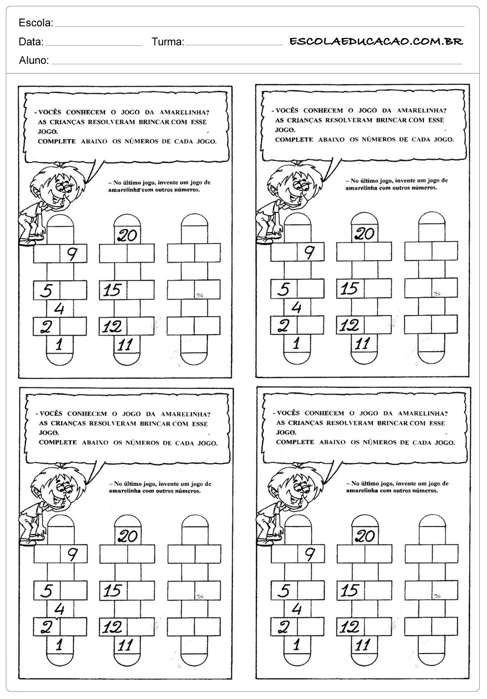 Atividades de Matemática 2º ano – Jogo da amarelinha