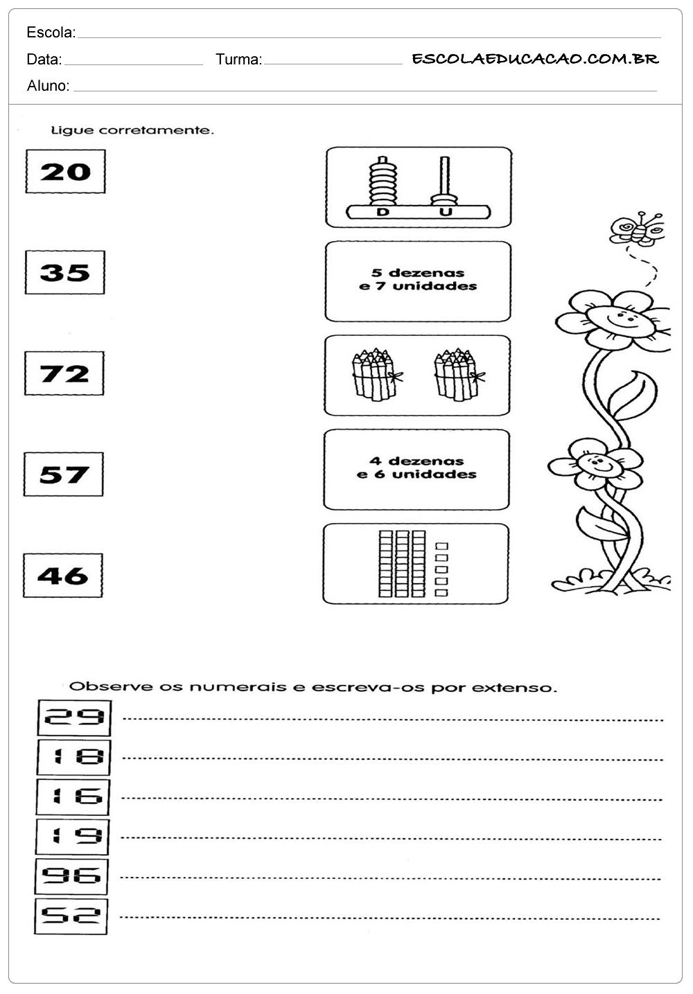 Atividades de Matemática 2º ano – Ligue coretamente