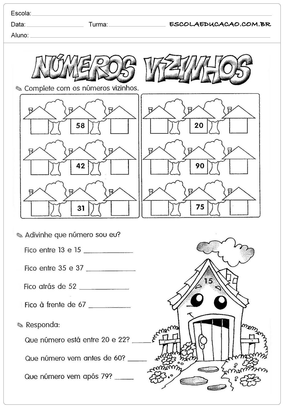 Atividades de Matemática 2º ano – Números vizinhos