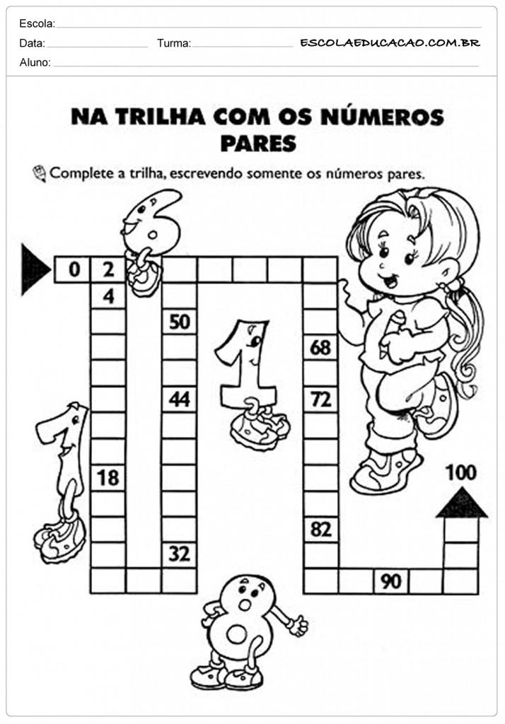 Atividades de Matemática 2º ano - Trilha dos números pares