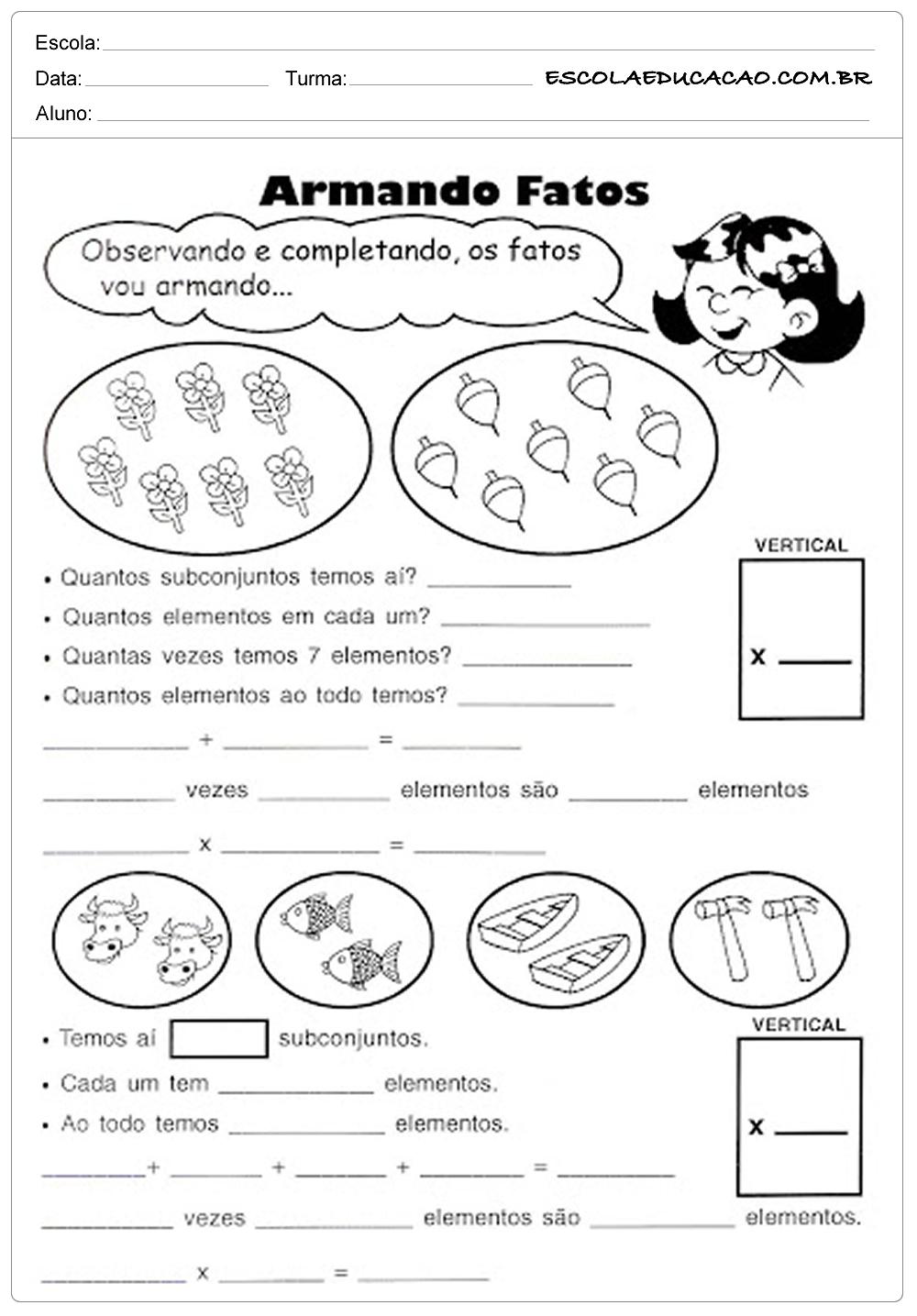 Atividades de Matemática 3º ano – Armando os Fatos
