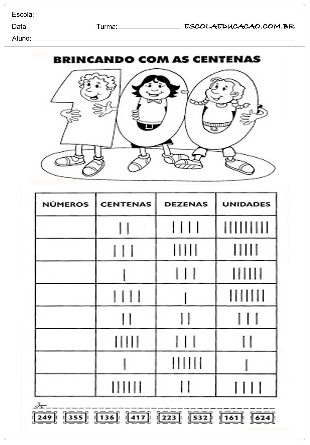 Atividades de Matemática 3º ano – Brincando com Centenas