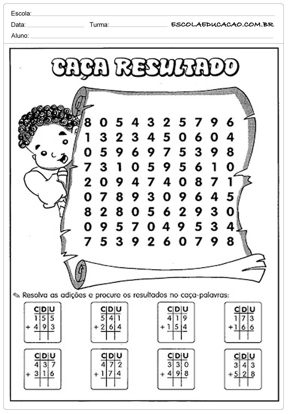 Atividades de Matemática 3º ano – Caça Resultados