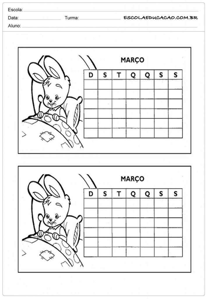 Atividades de Matemática 3º ano - Calendário