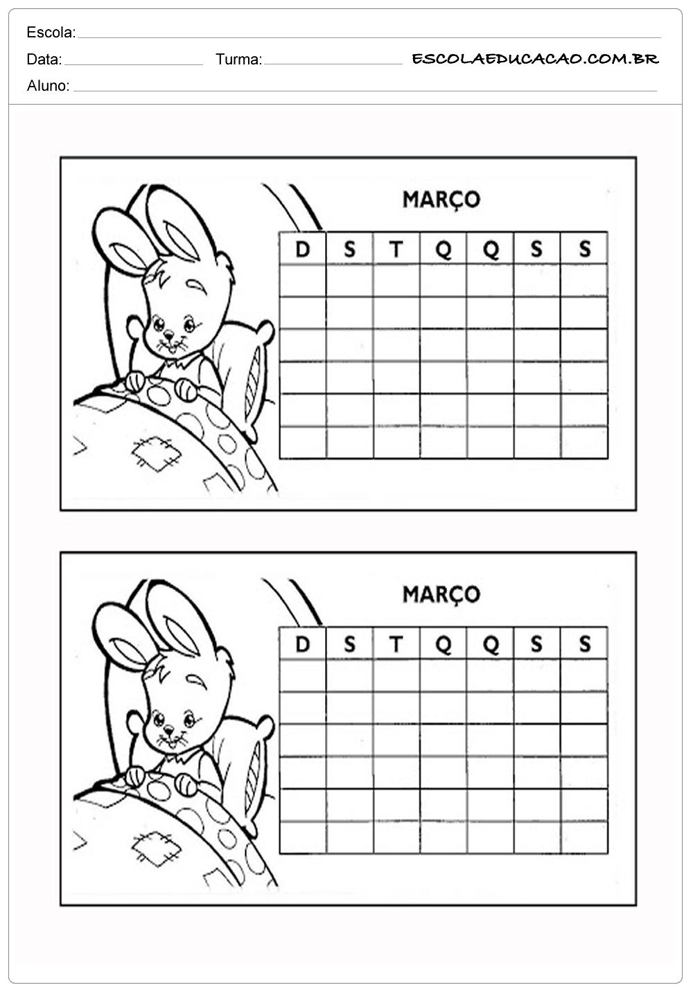 Atividades de Matemática 3º ano – Calendário