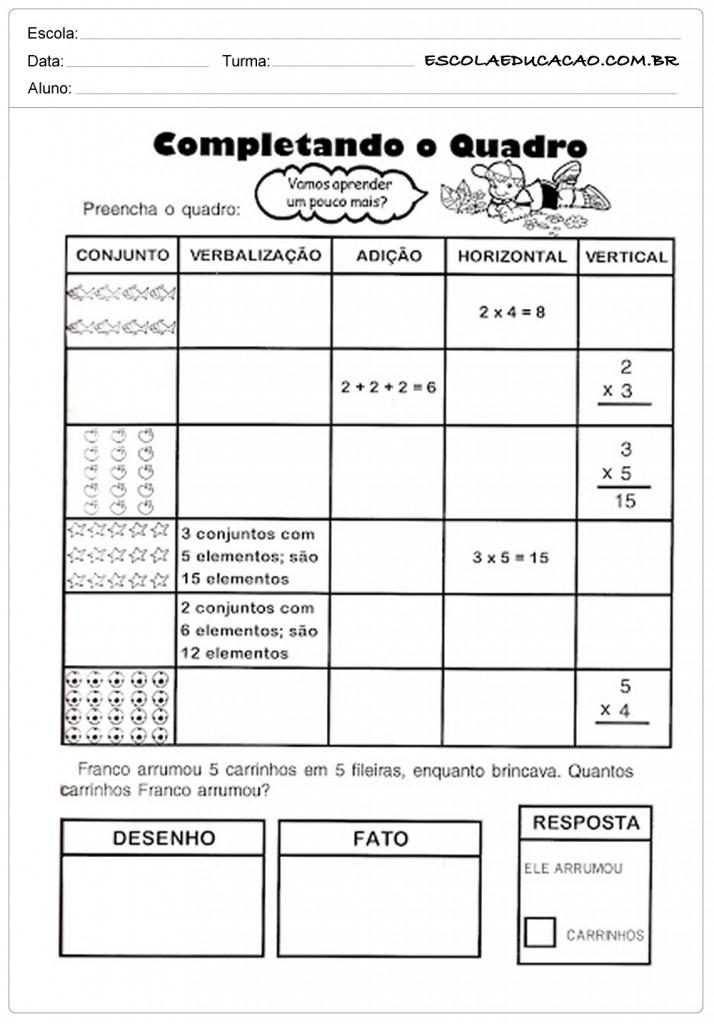 Atividades de Matemática 3º ano - Complete o Quadro