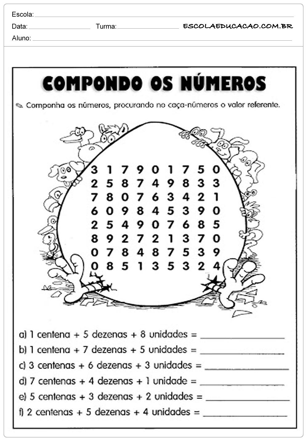 Atividades de Matemática 3º ano – Compondo os Números