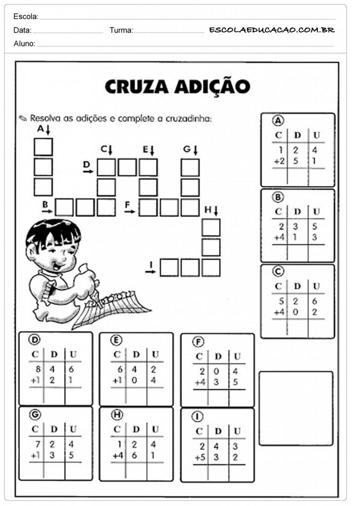 Atividades de Matemática 3º ano - Cruzada da Adição