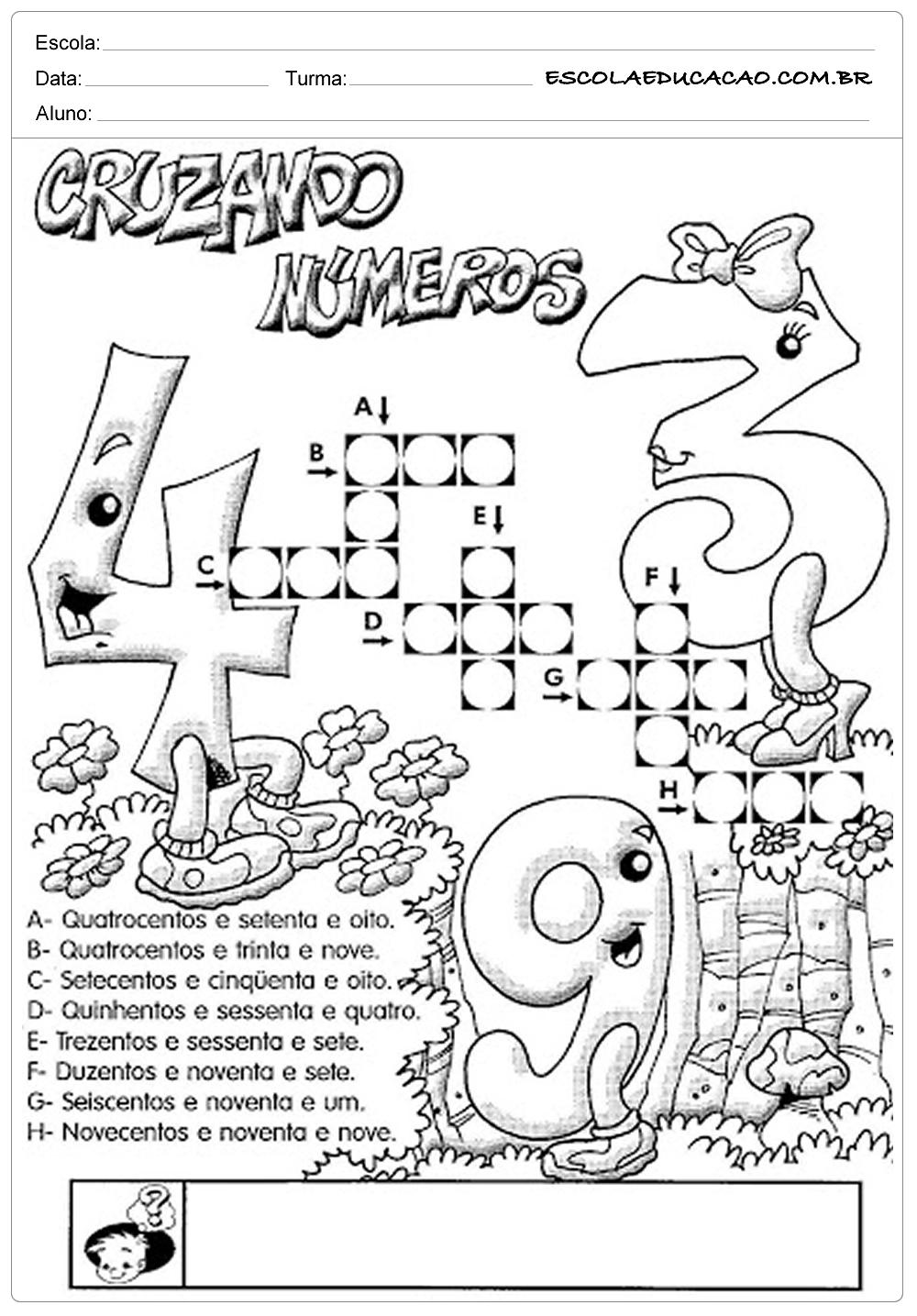 Atividades de Matemática 3º ano – Cruzando números