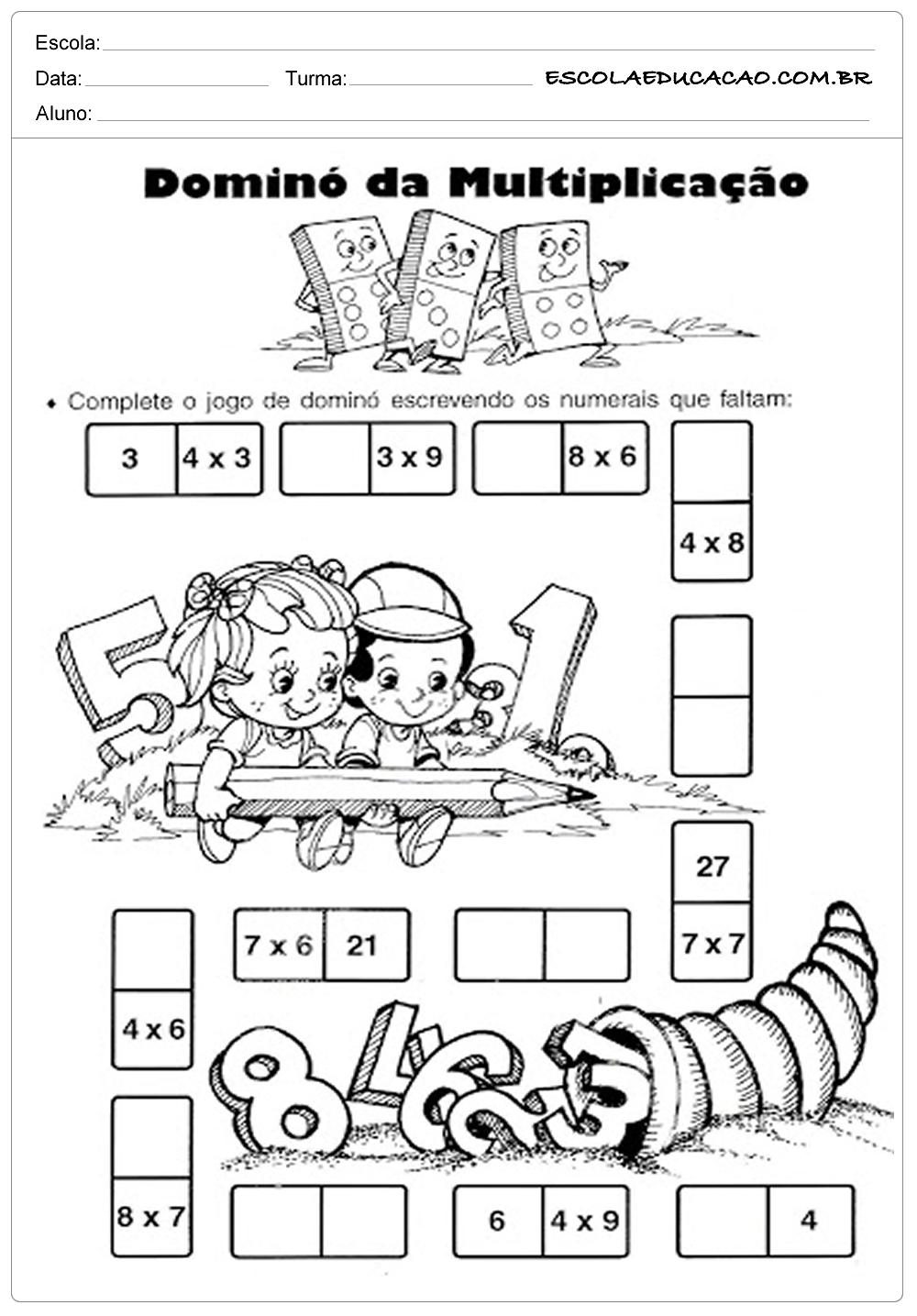 Atividades de Matemática 3º ano – Dominó da multiplicação