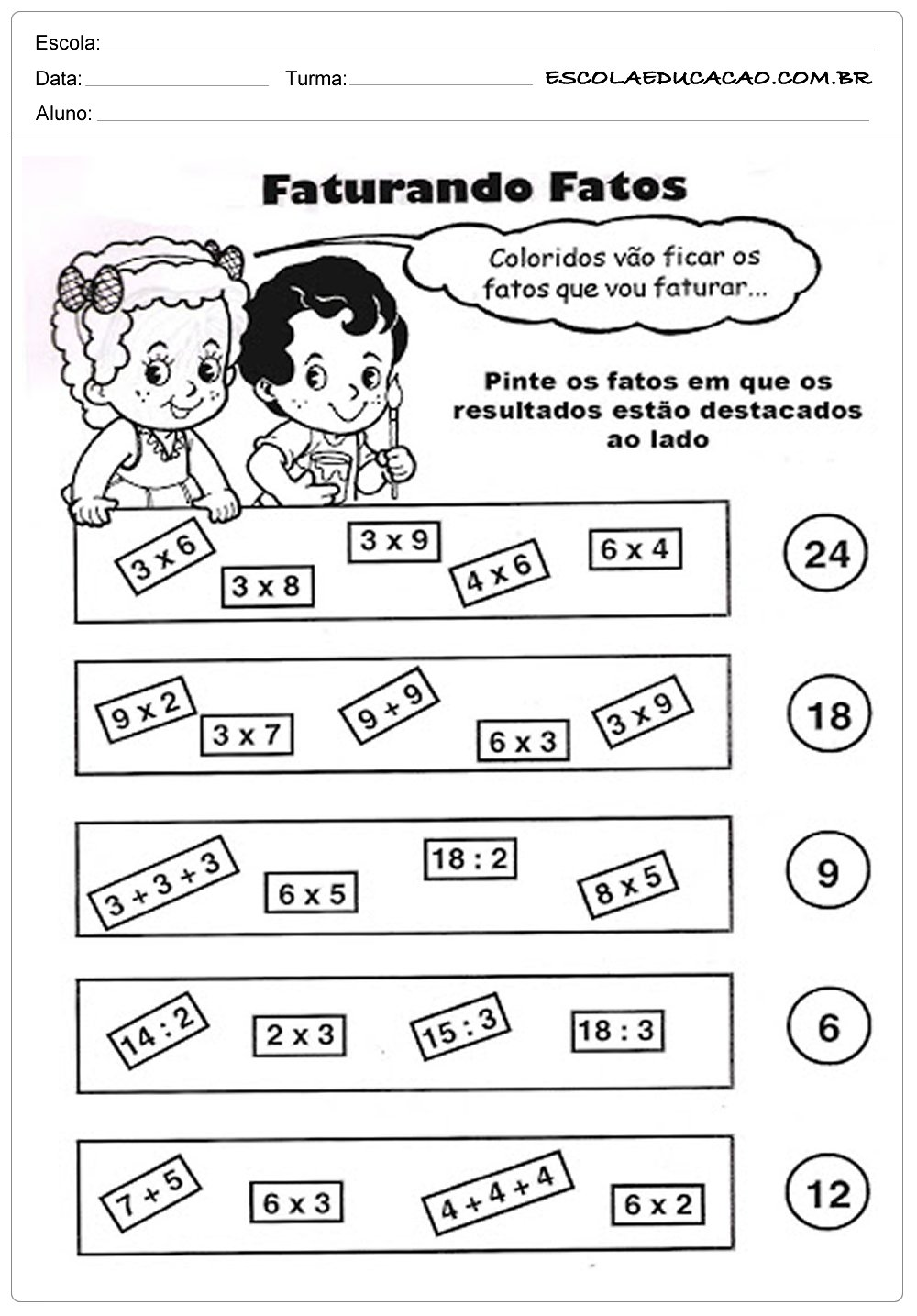 Atividades de Matemática 3º ano – Faturando Fatos