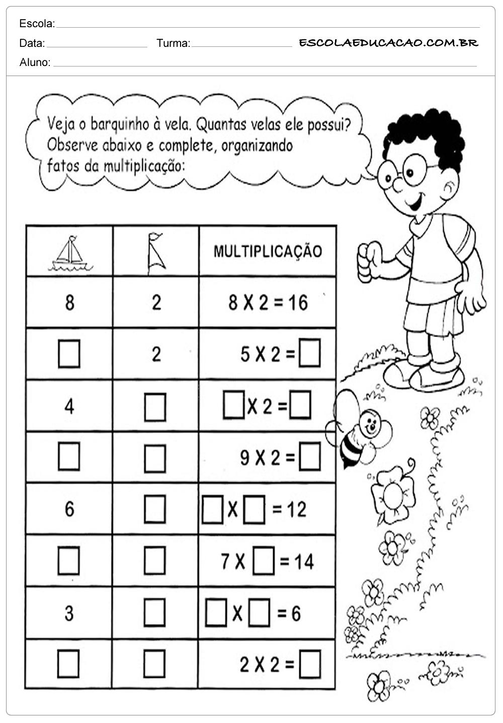 Atividades de Matemática 3º ano – Multiplicação