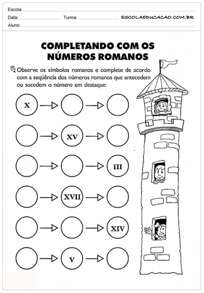 Atividades de Matemática 3º ano - Números romanos