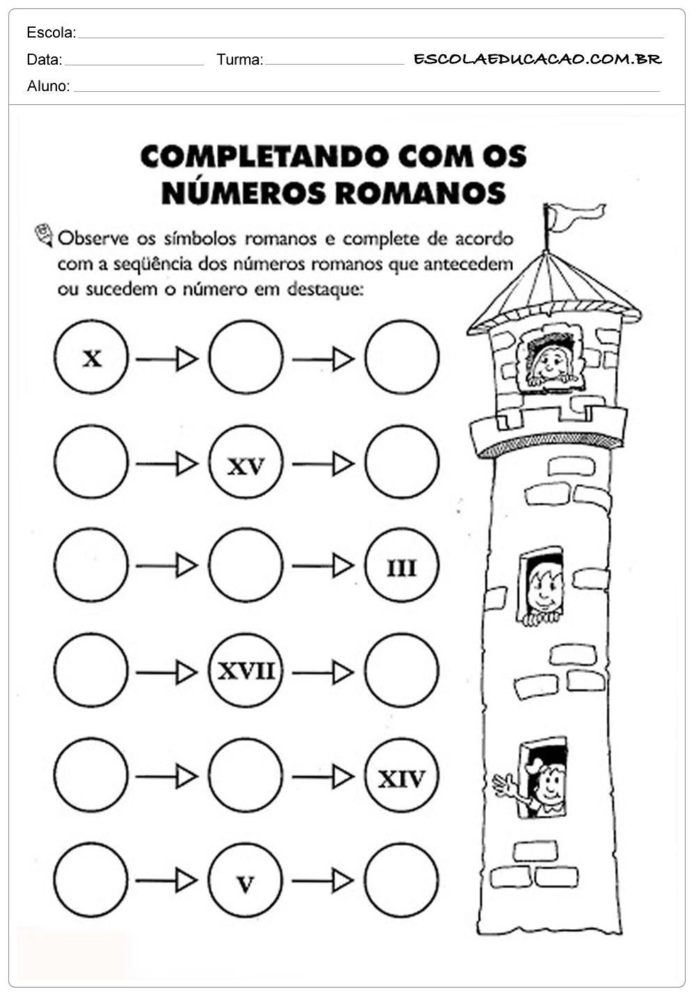 Atividades de Matemática 3º ano – Números romanos