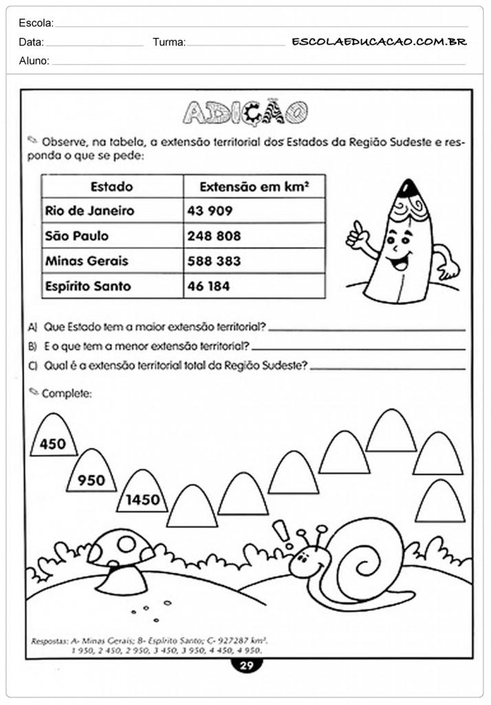 Atividades de Matemática 4º ano - Adição