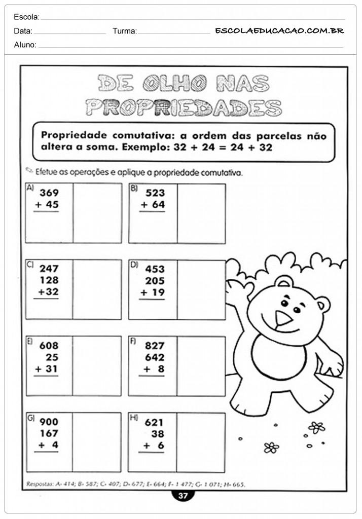 Atividades de Matemática 4º ano - De olho nas propriedades