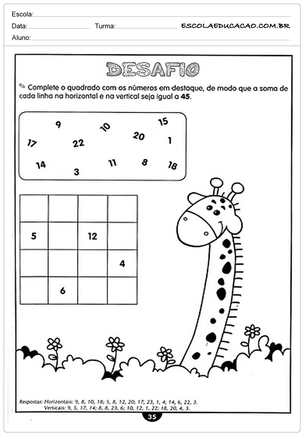 Atividades de Matemática 4º ano – Desafios