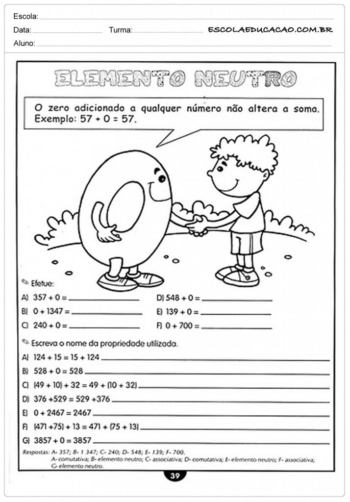 Atividades de Matemática 4º ano - Elemento neutro