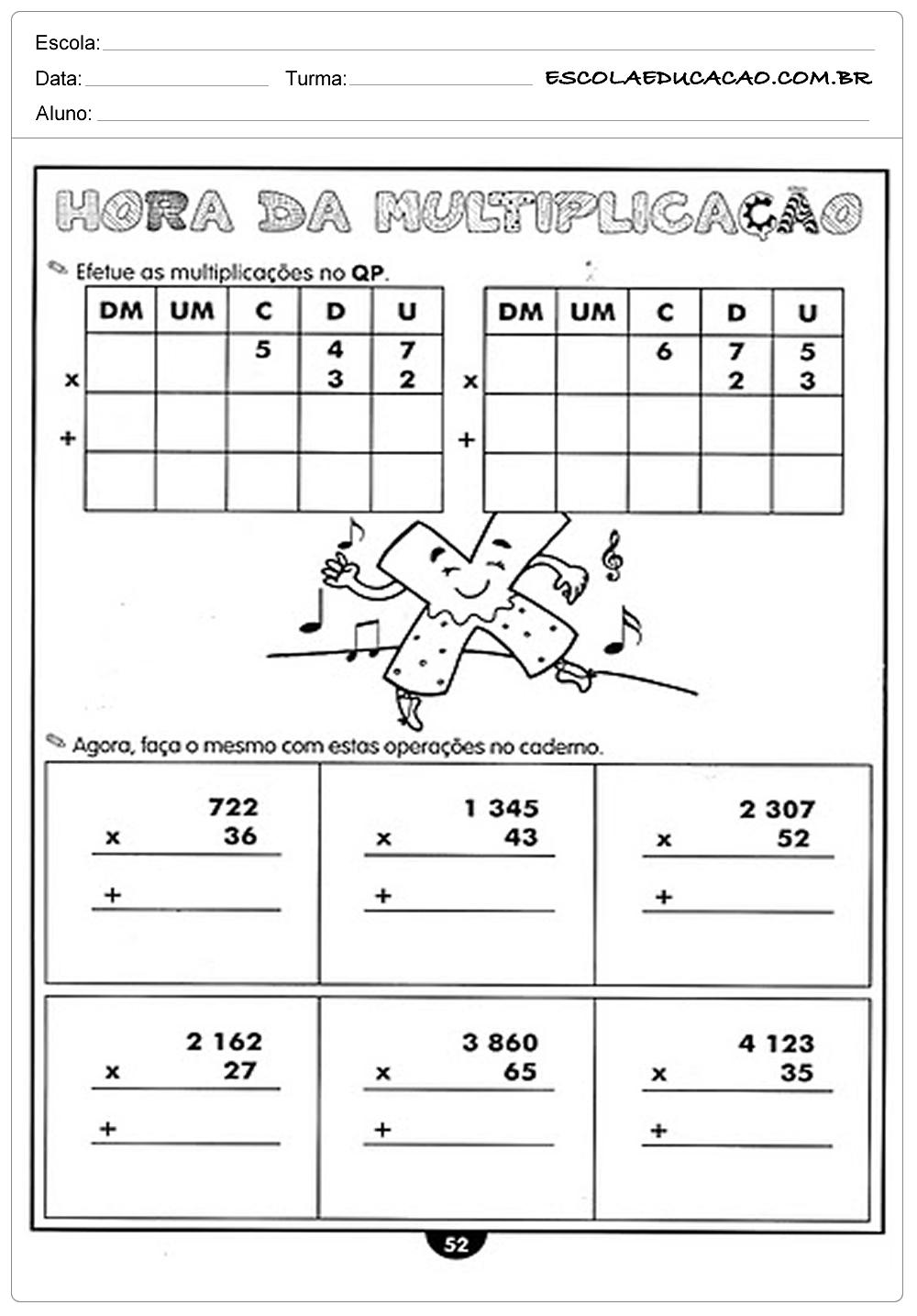 Atividades de Matemática 4º ano – Hora da multiplicação