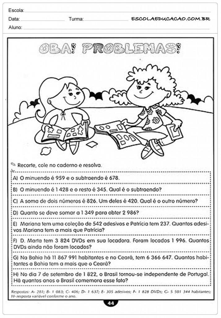 Atividades de Matemática 4º ano - Problemas
