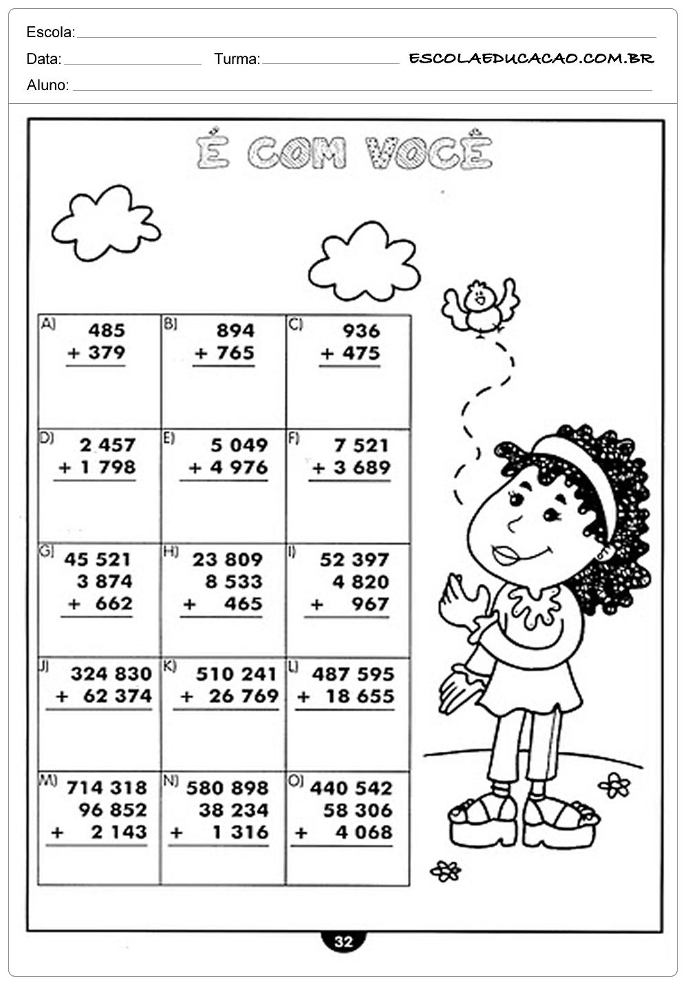 Atividades de Matemática 4º ano – Somando