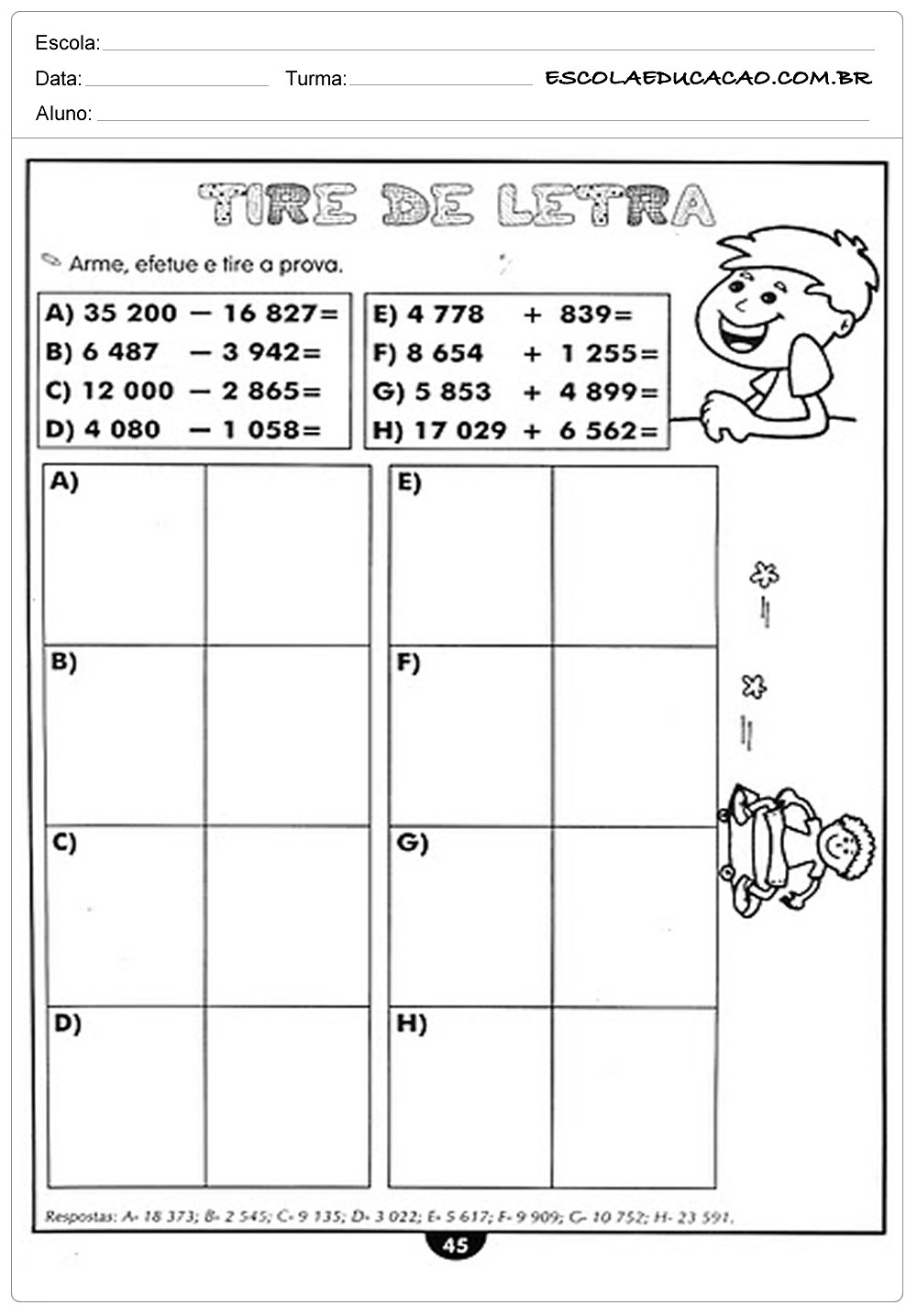 Atividades de Matemática 4º ano – Tire de letra