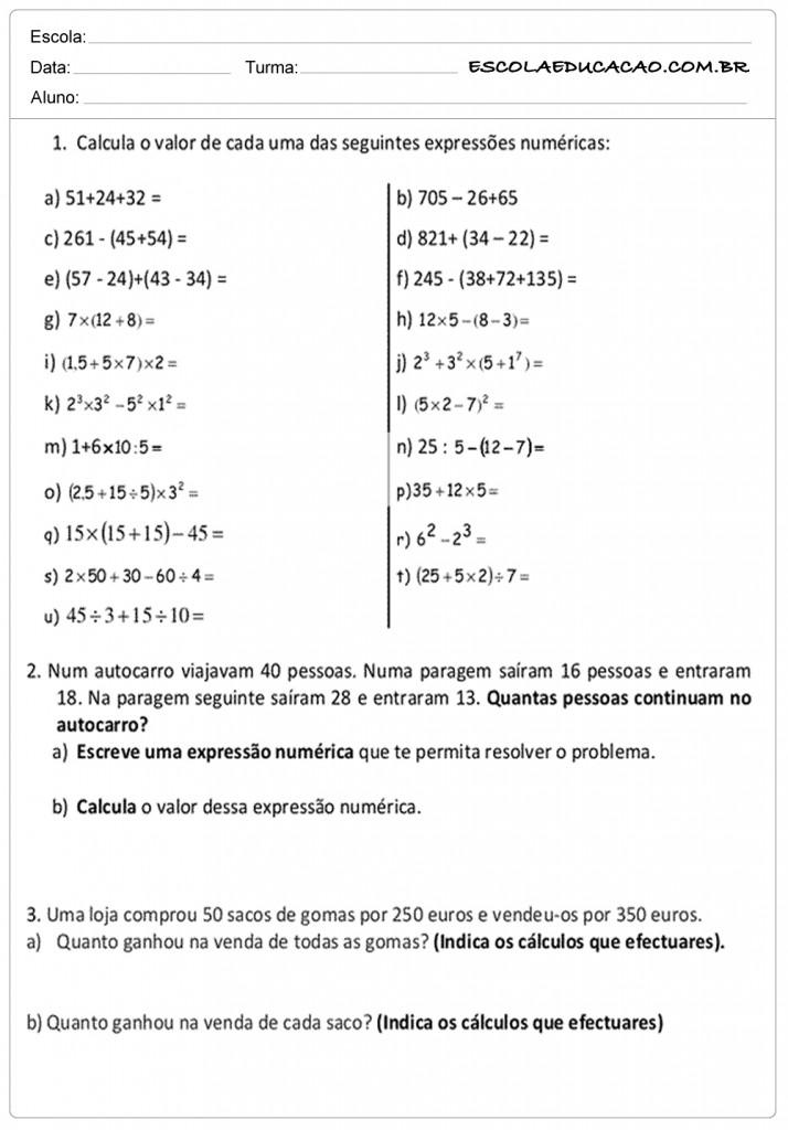 Atividades de Matemática 5º ano